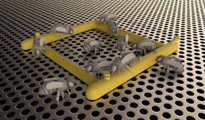 Mockup of bees using bee gym as varroa grooming aid