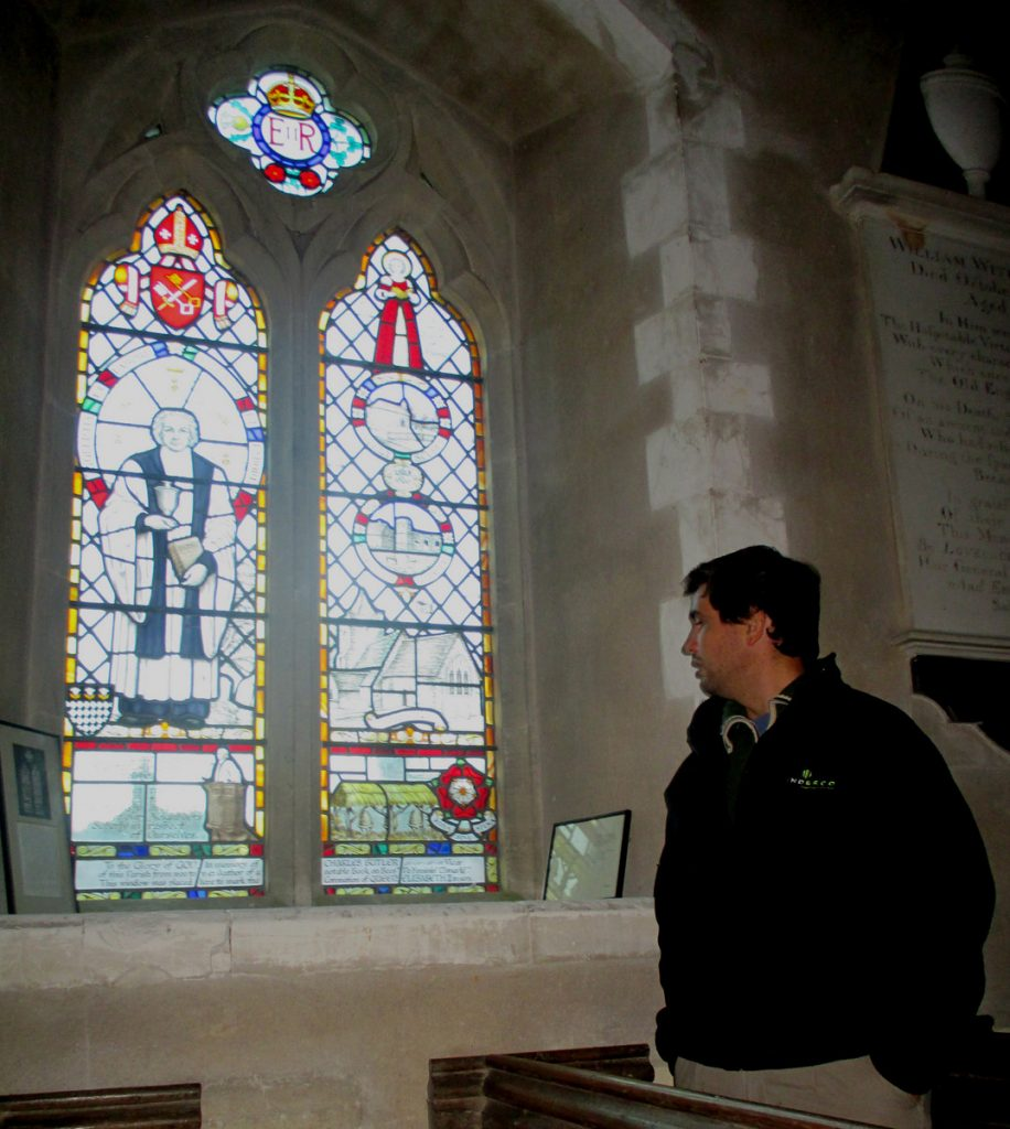 Paulo Mielgo examines the 1953 stained glass window celebrating bees and Rev Charles Butler
