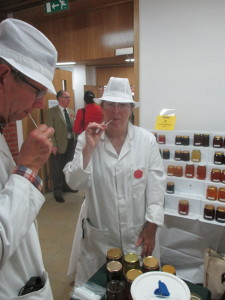 Judges putting their tasting skills to the test at the UK's national Honey Show.