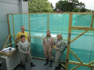 Up on the roof. BCOT beekeepers Lauren, Tim and Vanessa with Pete of the local beekeeping association (left)