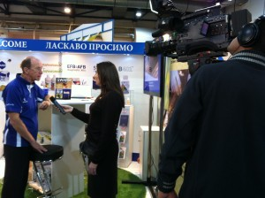 Jeremy Owen, of Vita, being interviewed for Ukrainian TV